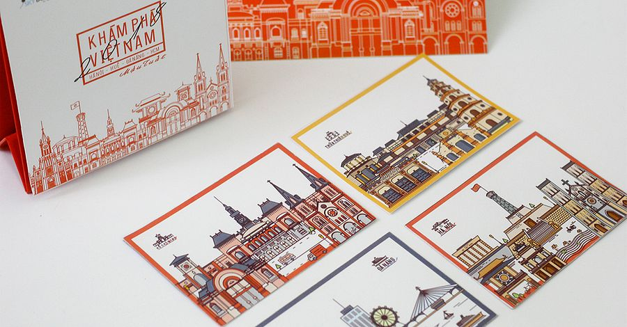 [Illustrations] Stylized Postcards Showcase Vietnam's Architectural Icons