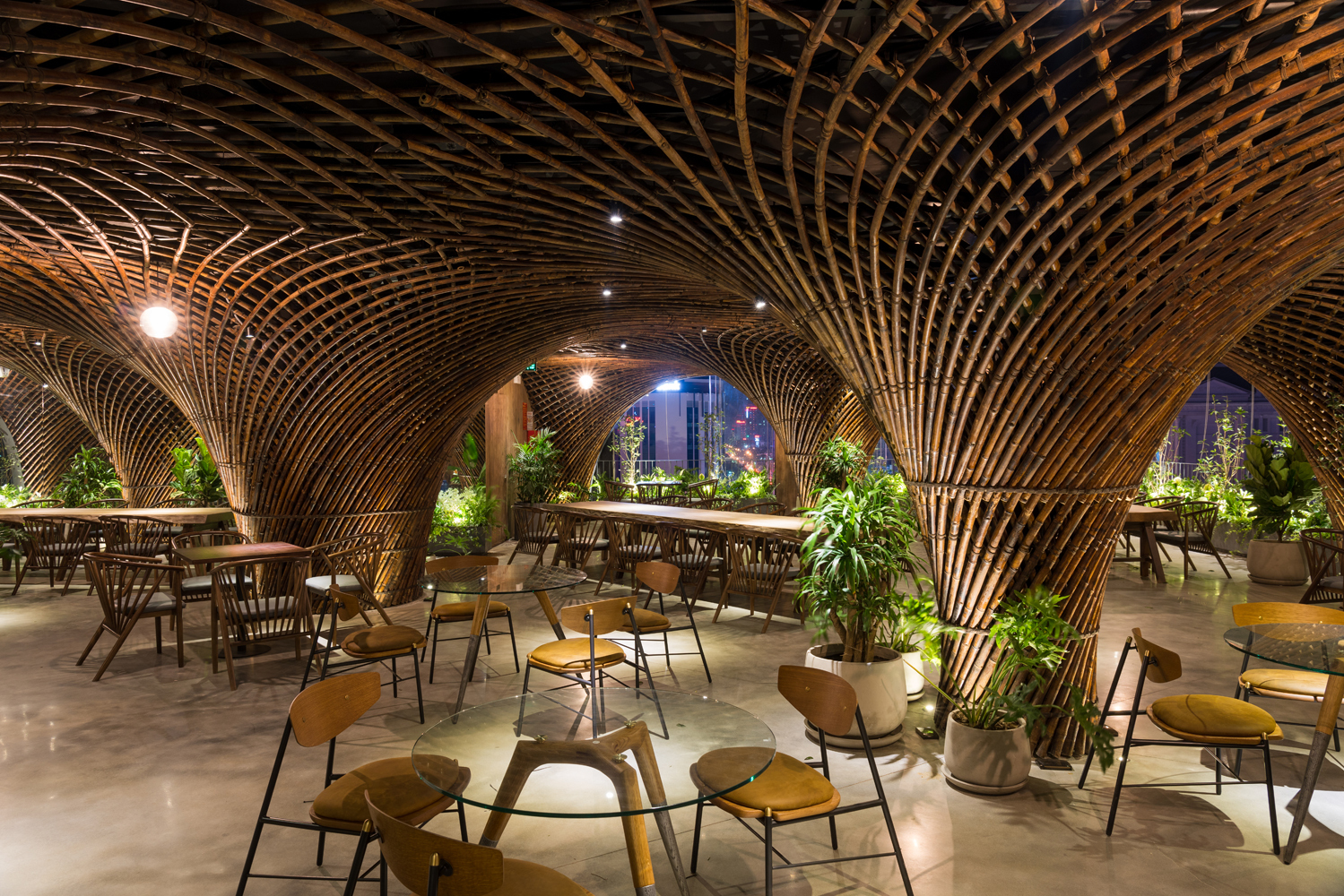 [Photos] VTN Architects Transform Nghe An Rooftop Cafe With Impressive Swirling Bamboo Dome