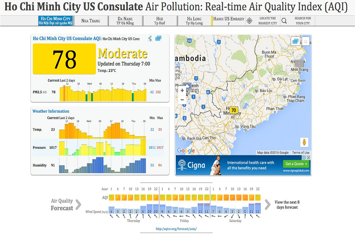 Us Consulate In Hcmc Now Provides Real Time Air Quality Readings - Air-quality-map-of-us