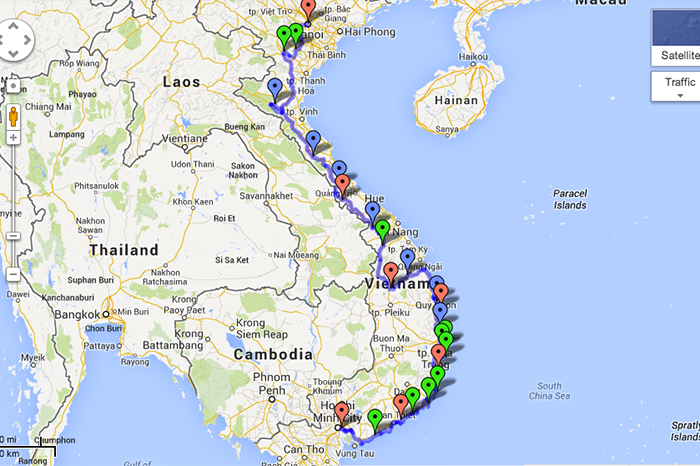 This Great Annotated Map Shows The Best Route Between Saigon And ...