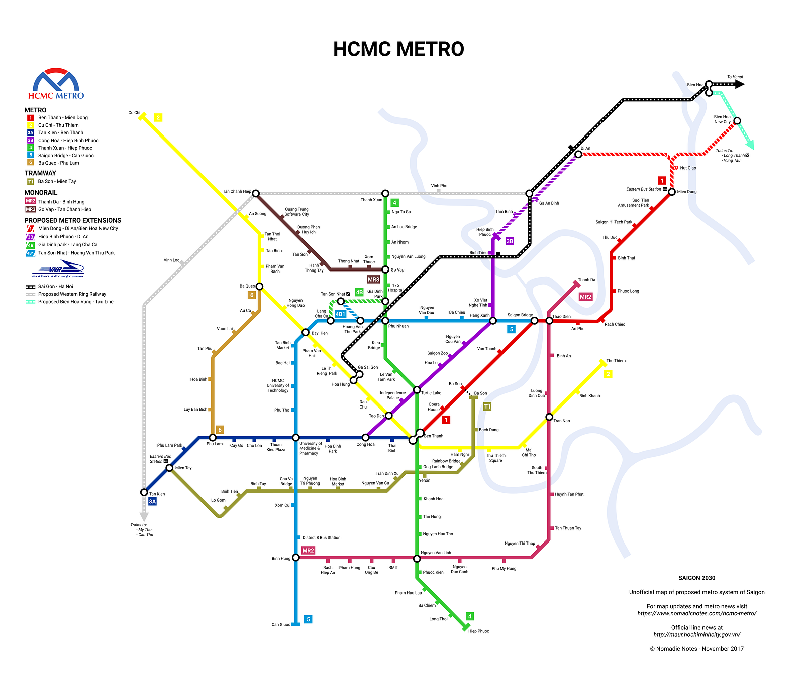 This New Map of Every Planned Saigon Metro Line Will Leave