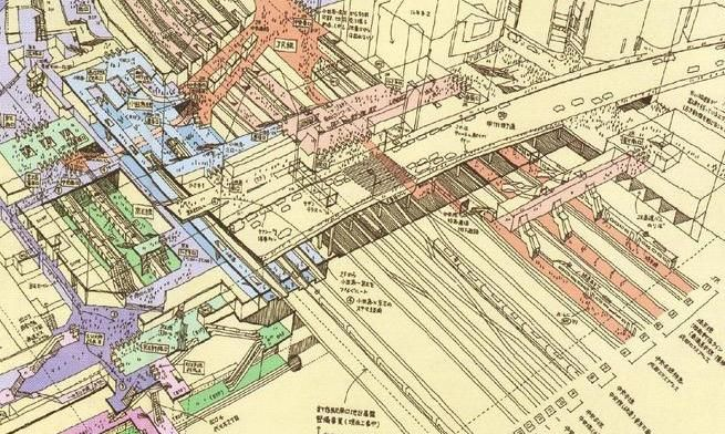 Hand Drawn Tokyo Subway Map.Illustrations Japanese Architect Sketches Tokyo Metro Stations And